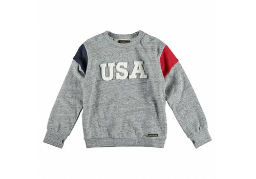 Finger in the nose BRIAN Heather Grey USA - Boy Knitted Crew Neck Sweatshirt