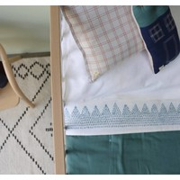 Zig Zag Hand Embroidered Top Sheets -Mall Cot - Cot Bed And Single Bed In A Bag - Embroidery Golden Ivory