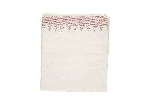 Camomile London Zig Zag Hand Embroidered Top Sheets -Mall Cot - Cot Bed And Single Bed In A Bag - Embroidery Deep Rose Ivory