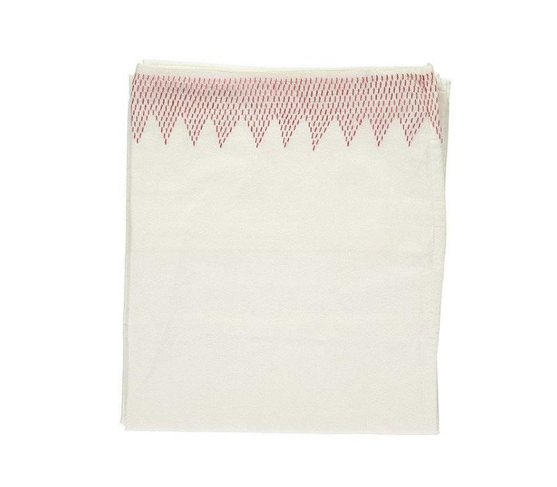 Zig Zag Hand Embroidered Top Sheets -Mall Cot - Cot Bed And Single Bed In A Bag - Embroidery Deep Rose Ivory