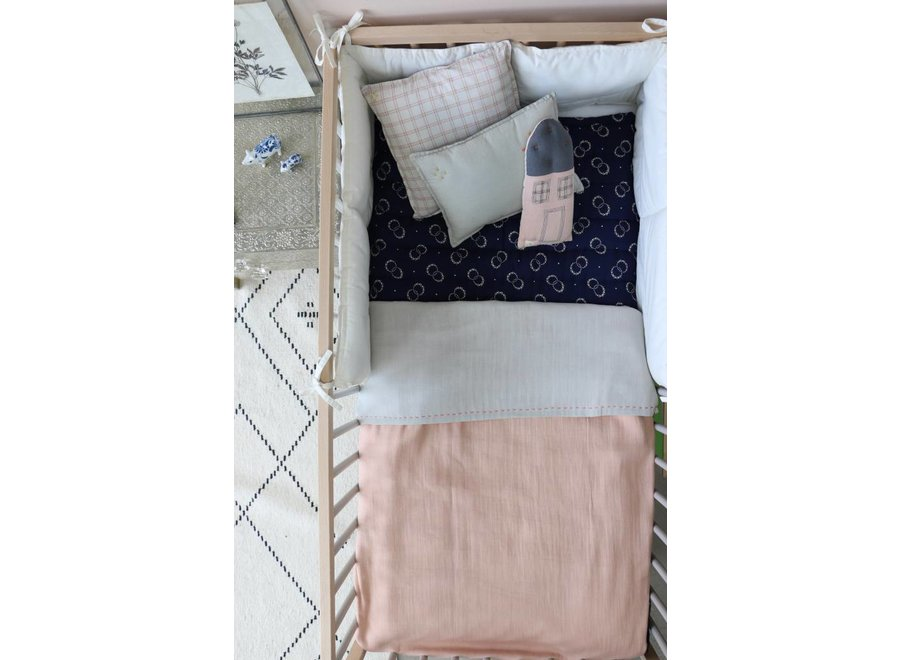 Two Tone Soft Cotton Light Weight Blanket/Swandle Double Layer - Hand Embroidered - Embroidery Rose Pink/Aqua