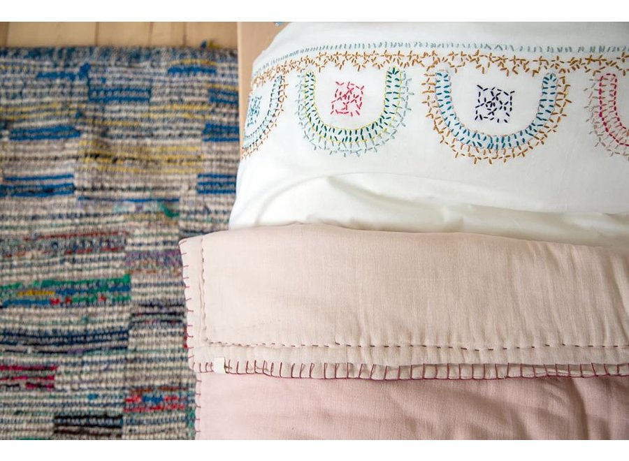 Two Tone Hand Embroidered Soft Quilt With Cotton Filling - Embroidery Taupe Pink/Mink