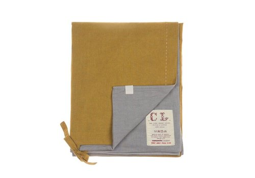 Camomile London Two Tone Dekbedovertrek With Hand Emb Running Stitch - Golden/ Warm Grey