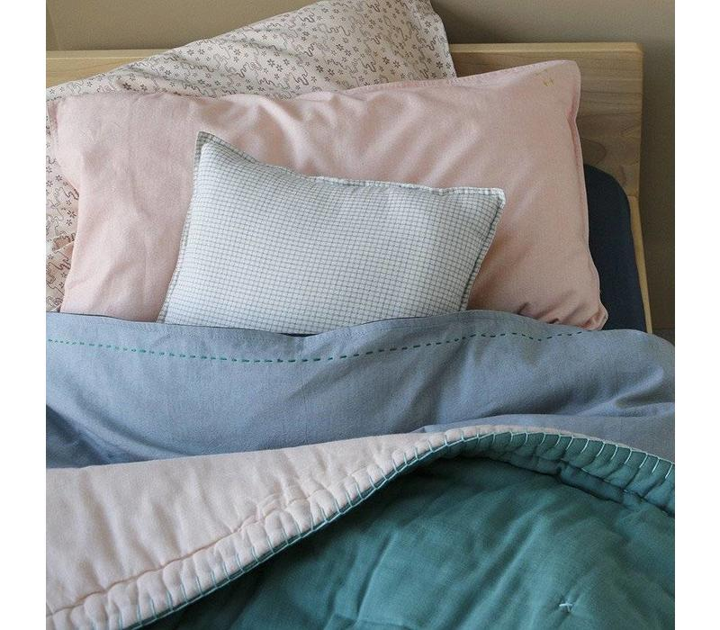 Two Tone Duvet Cover With Hand Emb Running Stitch - European Size Chambray/Ink