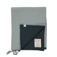 Two Tone Duvet Cover With Hand Emb Running Stitch - Chambray/Ink
