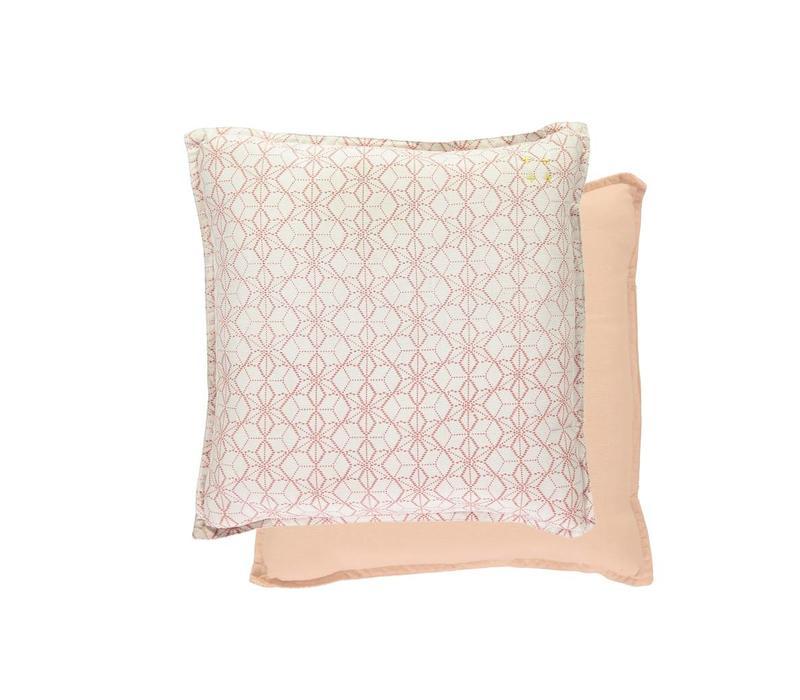 Square Check Padded Cushion - Dash Star Rose/Ivory