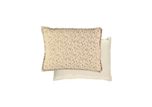 Camomile London Small Printed And Solid Two Tone - Padded Cushion - Floral Stream Natural/Mink