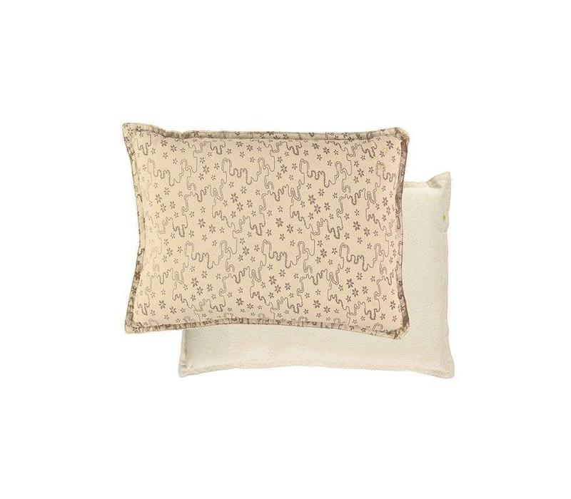 Small Printed And Solid Two Tone - Padded Cushion - Floral Stream Natural/Mink