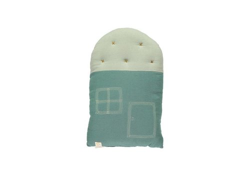 Camomile London Small House Cushion In Bag - Windows Mink Teal/Aqua