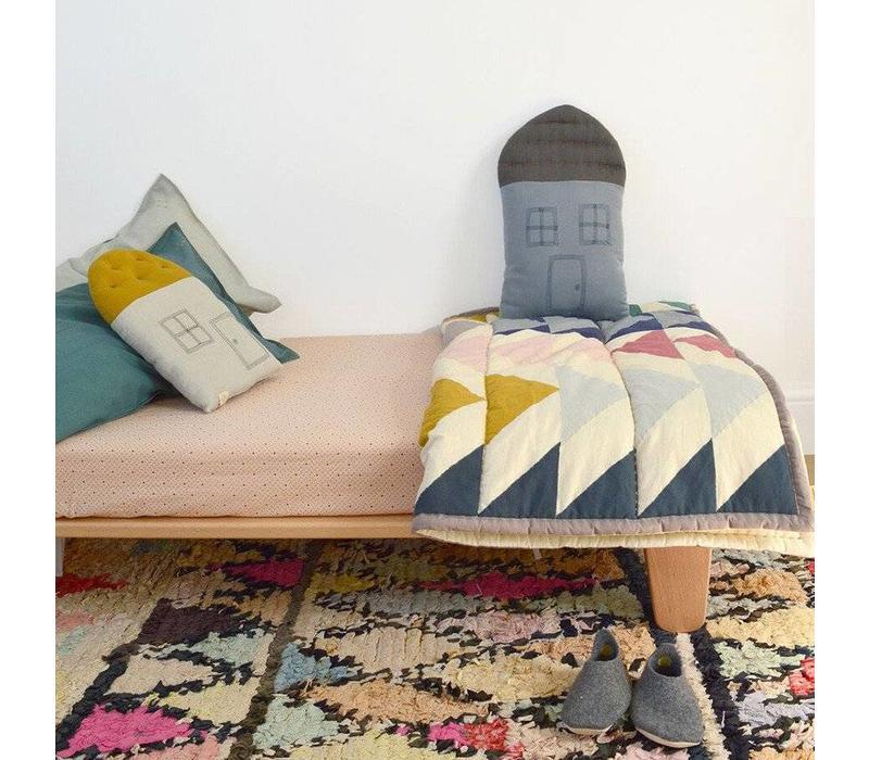 Small House Cushion In Bag - Windows /Door Charcoal Aqua/Golden