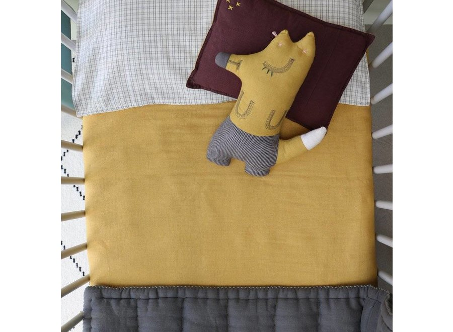 Single Layer Soft Cotton Gauze Swaddle - Hand Embroidered - Embroidery Chambray Golden