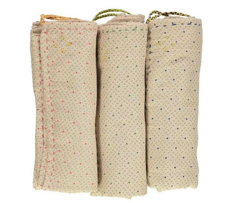 Single Layer Cotton Gauze Swaddle - Hand Embroidered - Keiko Natural With Pink/Grey Print
