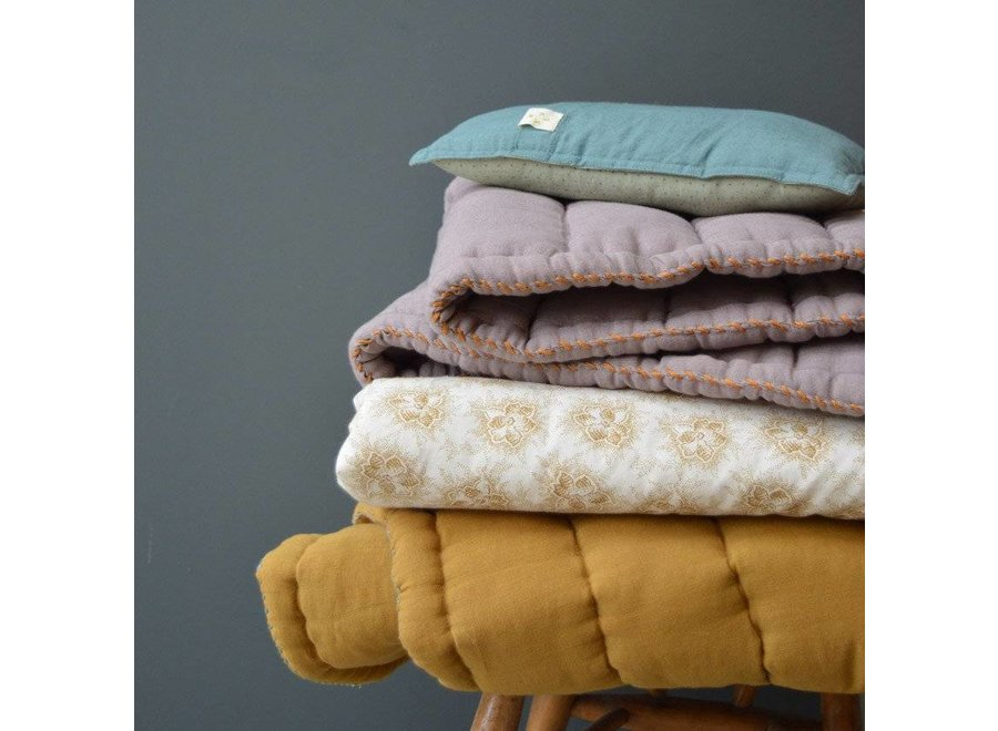Hand Quilted Blanket - Embroidery Duck Egg Golden