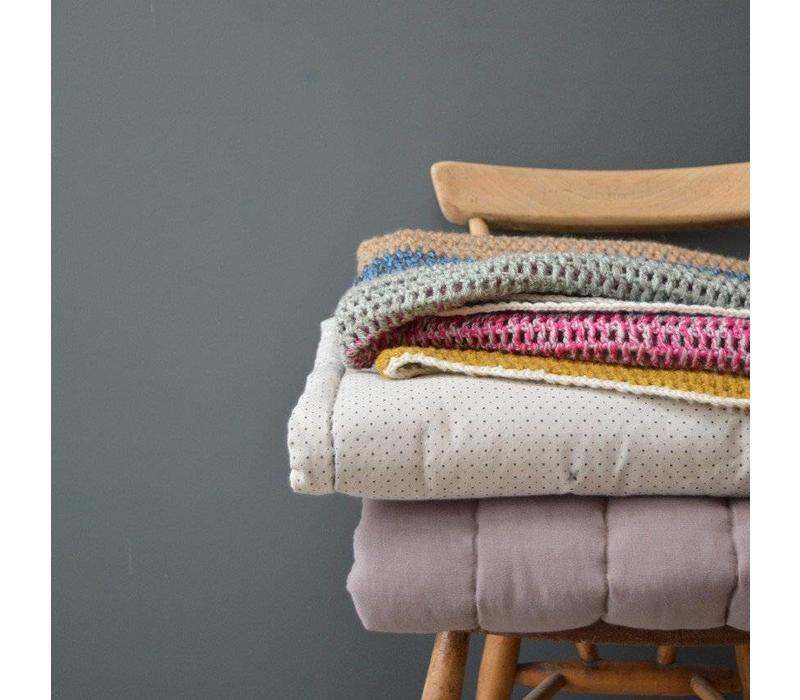 Hand Crochet Blanket/Throw - 100% Wool Twisted Yarn Multi