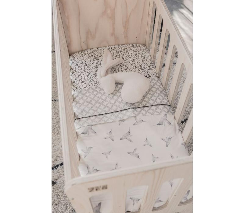 Toddler bed sheet geo circles offwhite