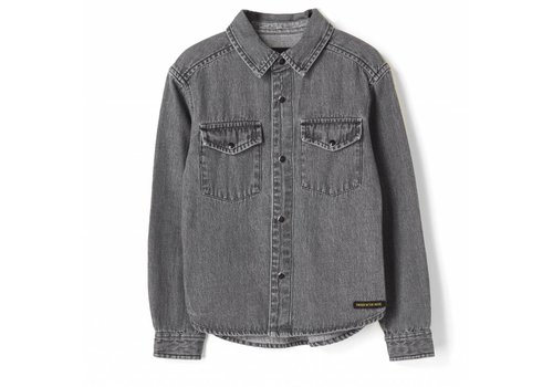 Finger in the nose Dao black denim-boy woven western shirt