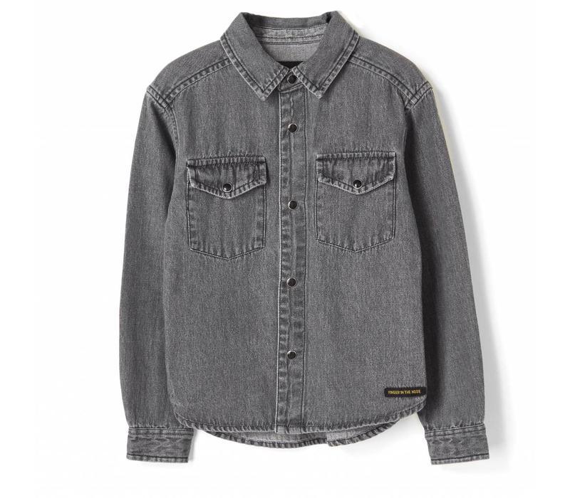 Dao black denim-boy woven western shirt