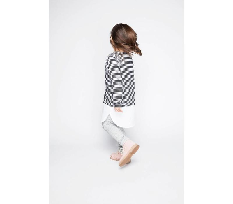 Combi Dress B/W Stripes/White