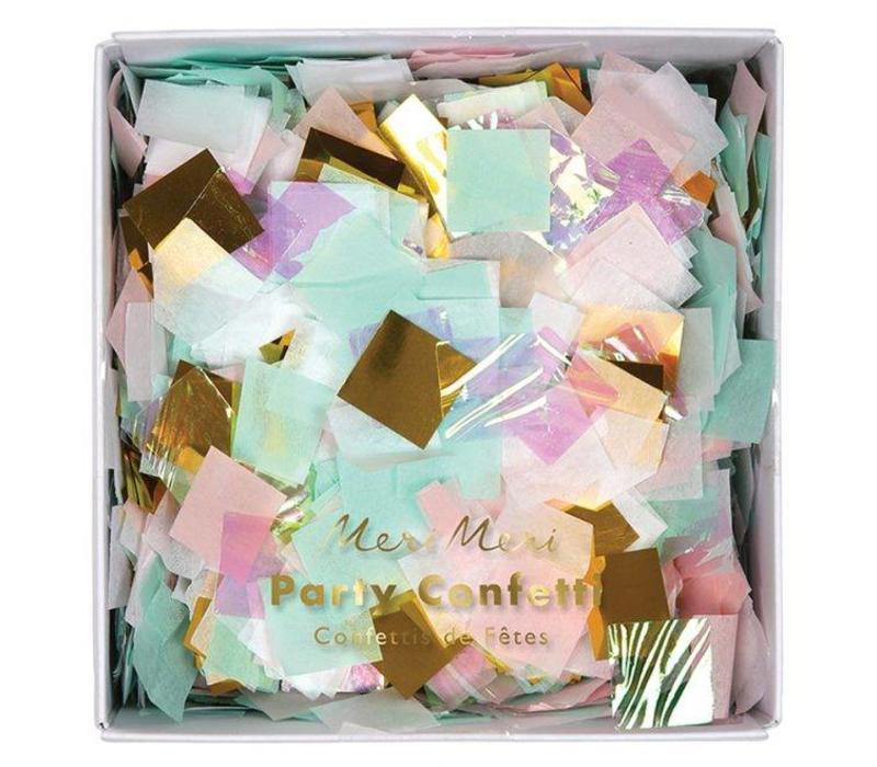 Boxed iridescent confetti