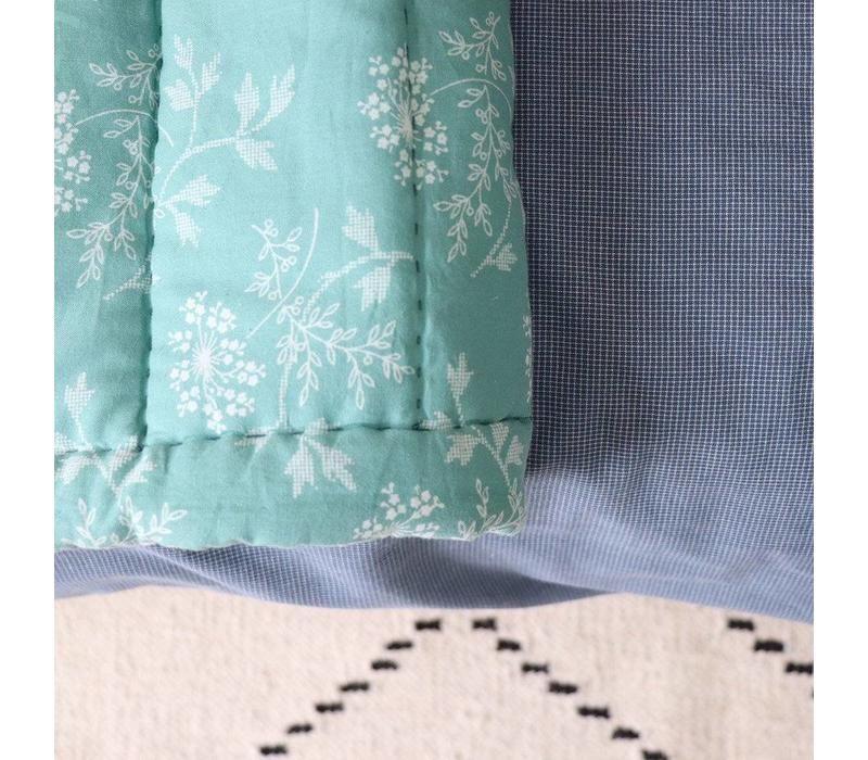 Hand Quilted Blanket In A Bag Hanako Floral Light Teal