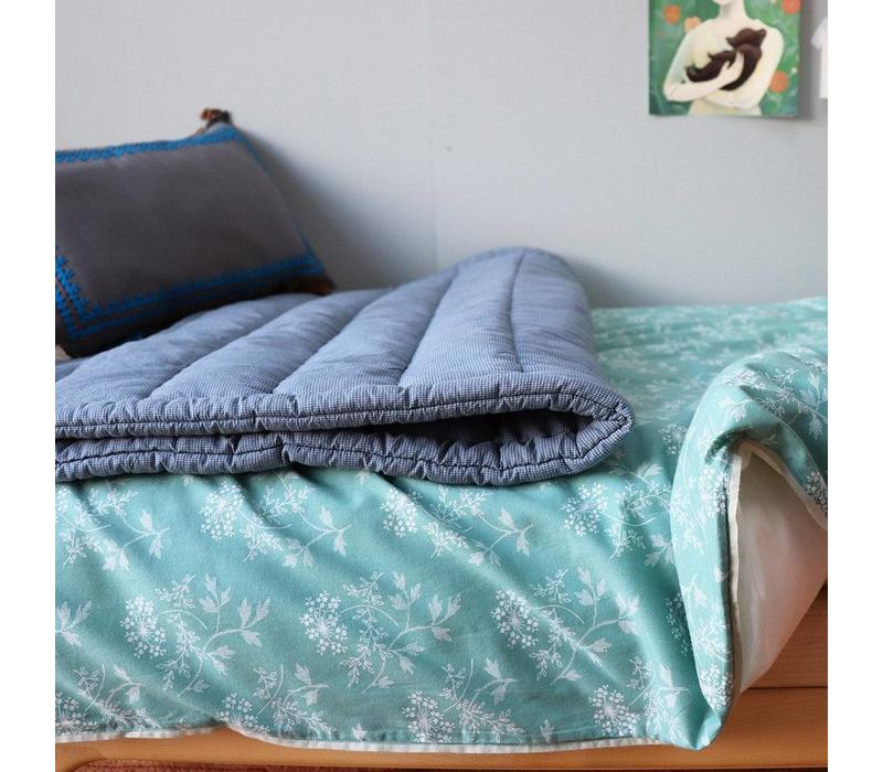 Hand Quilted Blanket In A Bag Mini Check Blue