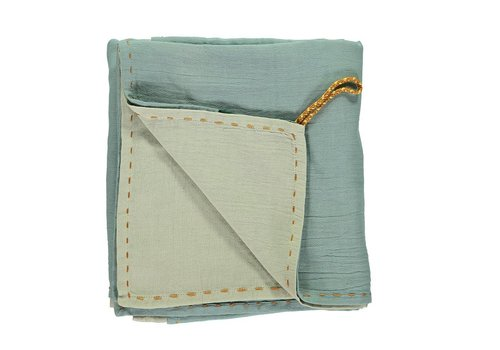 Camomile London Double Layer - Reversible Soft Cotton Gauze Light Weight Blanket/Swandle - Hand Embroidered C24/D Embroidery Golden Light Teal/Mint