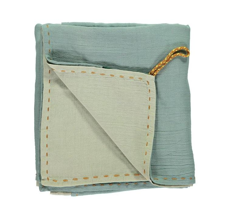 Double Layer - Swaddle - Hand Embroidered Golden Light Teal/Mint