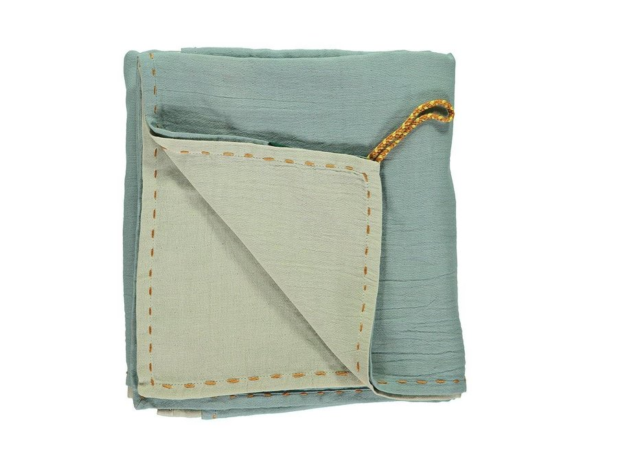 Double Layer - Reversible Soft Cotton Gauze Light Weight Blanket/Swandle - Hand Embroidered C24/D Embroidery Golden Light Teal/Mint