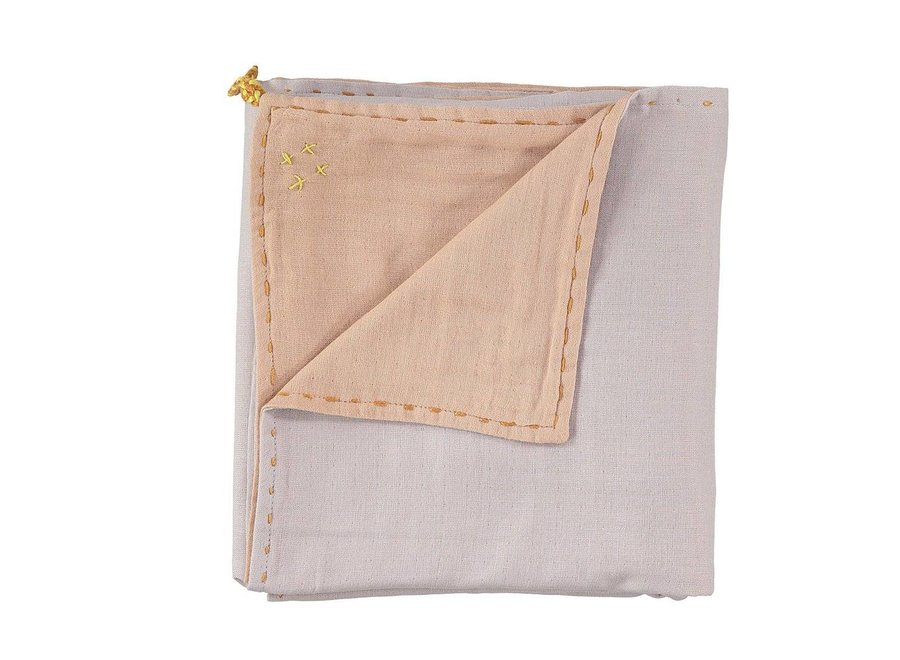 Double Layer - Swaddle - Hand Embroidered Golden Blush/Pearl Pink