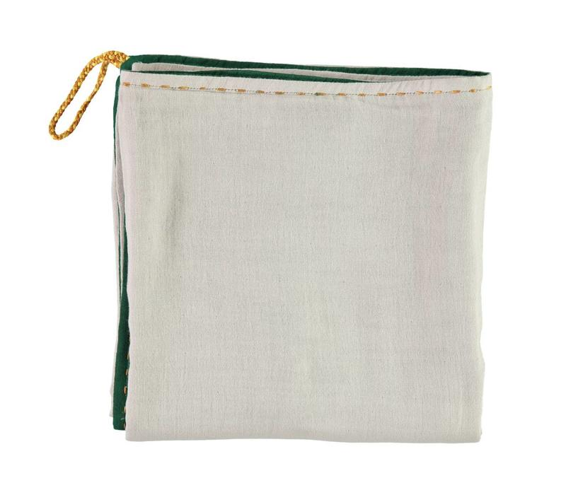 Double Layer - Swaddle - Hand Embroidered  Golden Forest/Ash