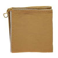Double Layer - Swaddle - Hand Embroidered Golden Ochre/Ash