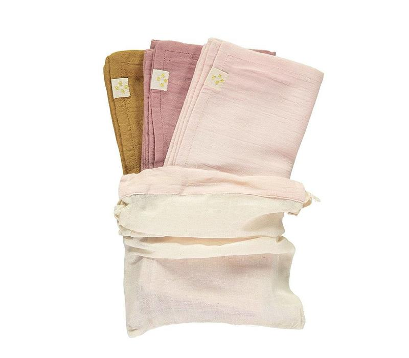 Small Soft Cotton Gauze Towels Multi Pack Blush/Ochre/Pearl Pink