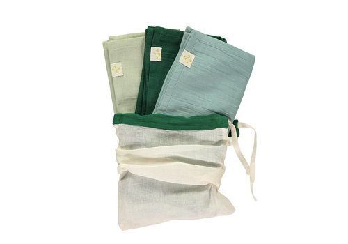 Camomile London Small Soft Cotton Gauze Towels Multi Pack Mint/ Light Teal/Forest