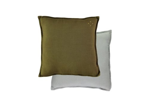 Camomile London Two Tone Reversible Square Cushions Two Tone Moss/Powder Blue
