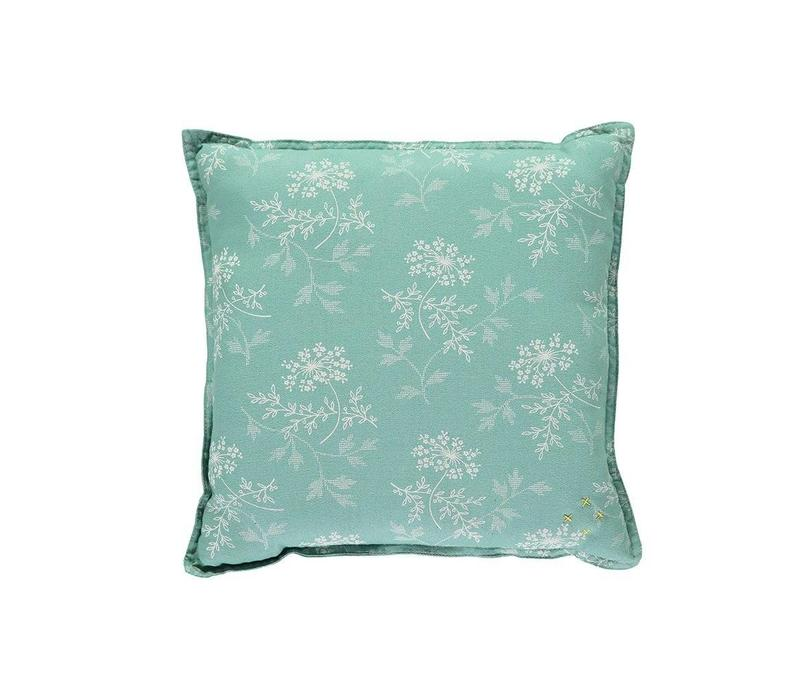 Check And Printed Cushions Hanako Floral Light Teal