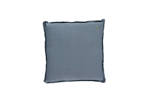 Camomile London Check And Printed Cushions Mini Check Blue