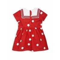 Dot woven sailor dress Red