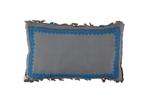 Camomile London Limited Edition - Hand Woven/Hand Embroidered Long/Rectangle Cushion With Tassels   Pebble