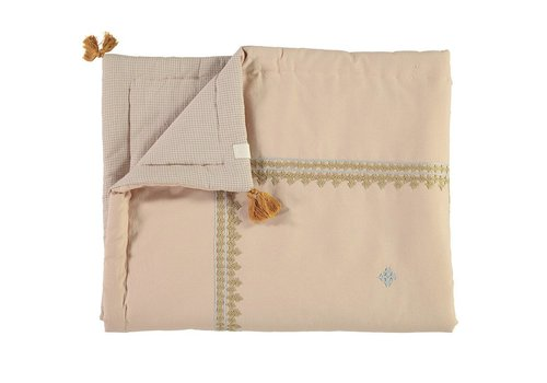 Camomile London Hand Woven/Hand Embroidered Quilts Limited Edition Embroidery Caramel/Powder Blue  Peach/Cinnamon Check