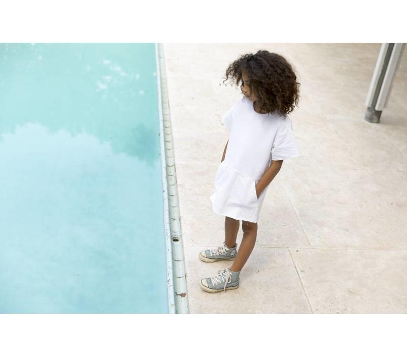 Bubble White - Girl Woven Denim Dress