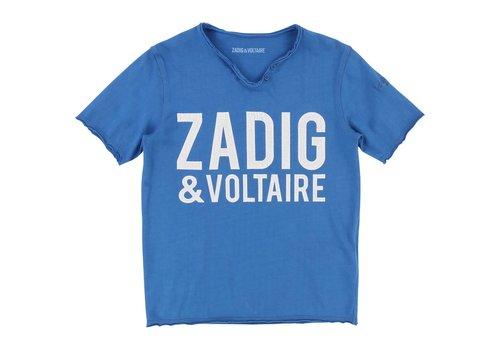 Zadig et Voltaire Kids T-Shirt col tunisien, surf blue