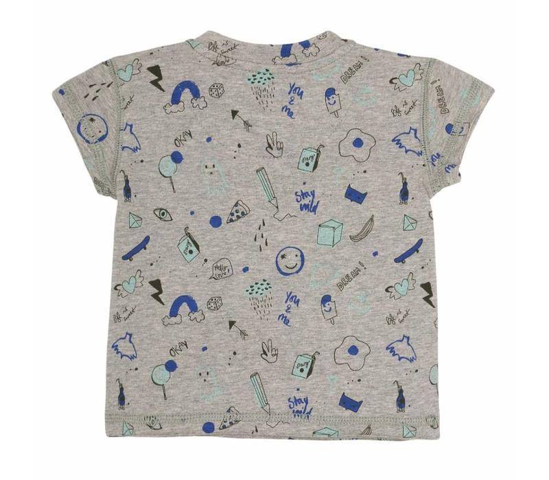 Baby Ashton T-shirt Grey Melange, AOP Freestyle