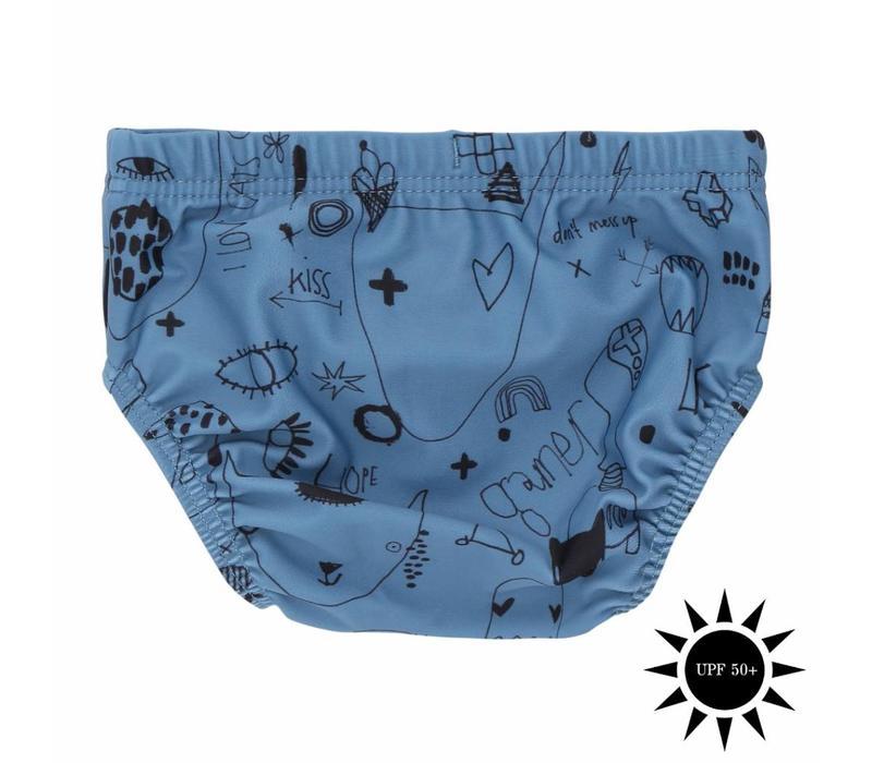 Miki Swim Pants Copen Blue, AOP Quirky Big