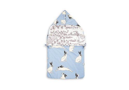 Mini Rodini Rabbit/croco map sleeping nest light blue