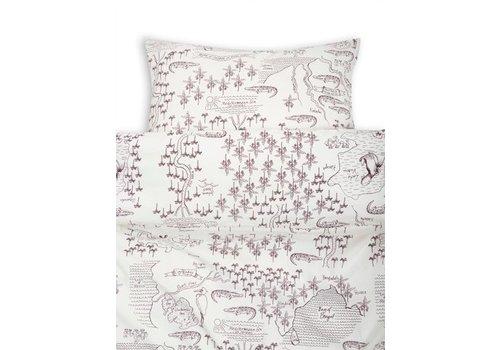 Mini Rodini Croco map bed set offwhite