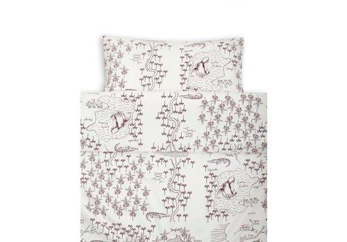 Mini Rodini Croco map bed set baby offwhite
