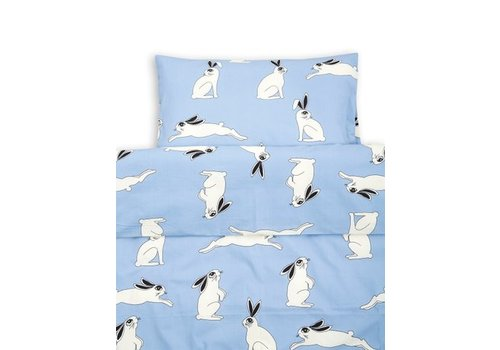 Mini Rodini Rabbit bed set baby light blue