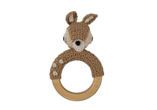 Sebra Crochet Rattle Deer On Ring, Light Brown