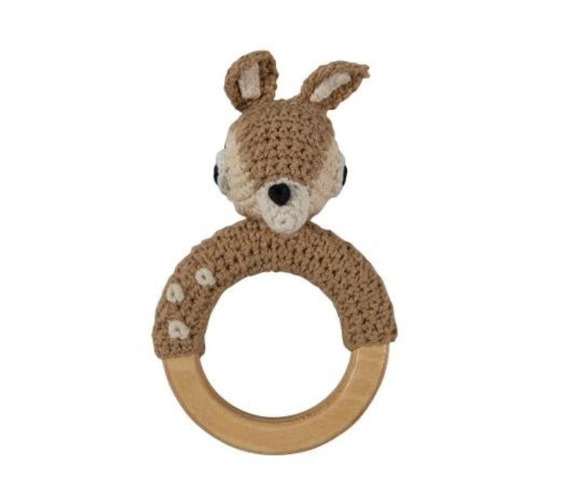 Crochet Rattle Deer On Ring, Light Brown