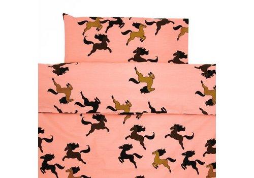 Mini Rodini Horse bed set pink